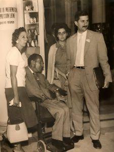 1961 À. Carbona, F. Sunyer, M. Guilemany i J.Vaquer, a la Reunió de Matemàtics d'Expressió Llatina celebrada a Florència. Arxiu: Familia J. Vaquer.- M .Guilemany
