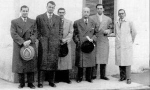 D'esquerra a dreta: Enrique Gadea, Julio Rodríguez Roda, Carles Bas, Francisco García del Cid, Antoni Planas, i Manuel Gómez Larrañeta (abans de 1965).