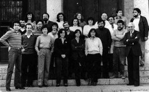 Amb l'equip de l'Institut d'Investigacions Pesqueres, el 1983. Fila de dalt (d'esquerra a dreta): Beatriz Roel, Domingo Lloris, Pilar Sánchez, Beatriz Morales, Juan José López, Francesc Sardà, i Jaume Rucabado. Segona fila (d'esquerra a dreta): Jordi Lleonart, Pere Abelló, Balbina Molí, José Manuel Fortuño, Conchita Allué, Conchita Borruel, Jordi Salat, Pere Suau, Jordi Font, i Carles Bas. Al davant (d'esquerra a dreta): Francisco Valladares, Enrique MacPherson, Isabel Palomera, Paloma Martín, Pilar Olivar, i Ana Sabatés.